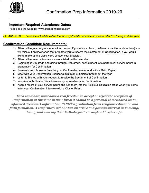 2020 Confirmation Prep Information
